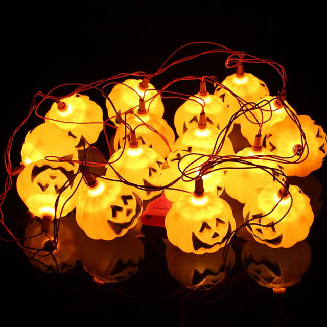 New 16PCS Halloween Pumpkin Lantern Vintage Bar String Light Party Decorations Tail Plug