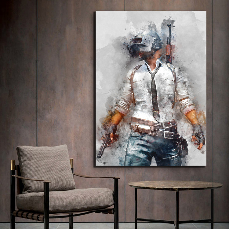 1 Piece PUBG PLAYERUNKNOWNS BATTLEGROUNDS Game Poster Artwork Canvas Painting Wall Art for Home Decor 2