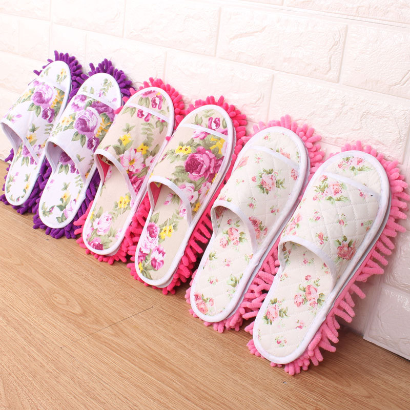 Aleafalling Women Slipper Indoor Flower Soft Lazy Mopping Girl's Shoes Lady's Housework Fleece Open Toe Lazy Slippers T89