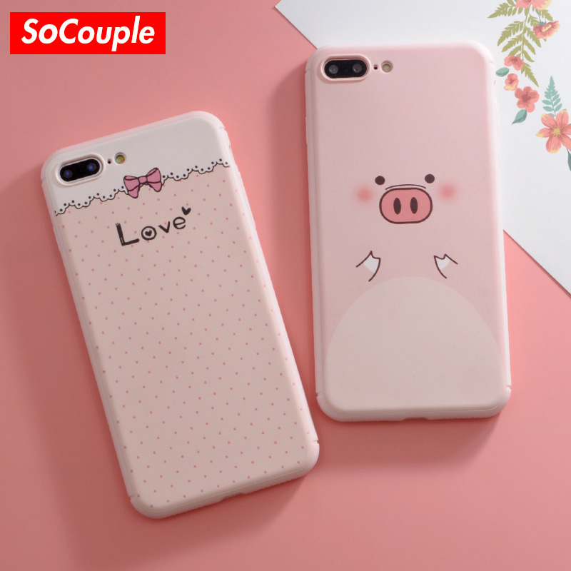 SoCouple New Cartoon Pig Pattern Soft Silicone Phone Case Cover for iphone 7 7plus 6 6s 6plus 8 8plus X Funny Sweet Bow Coque