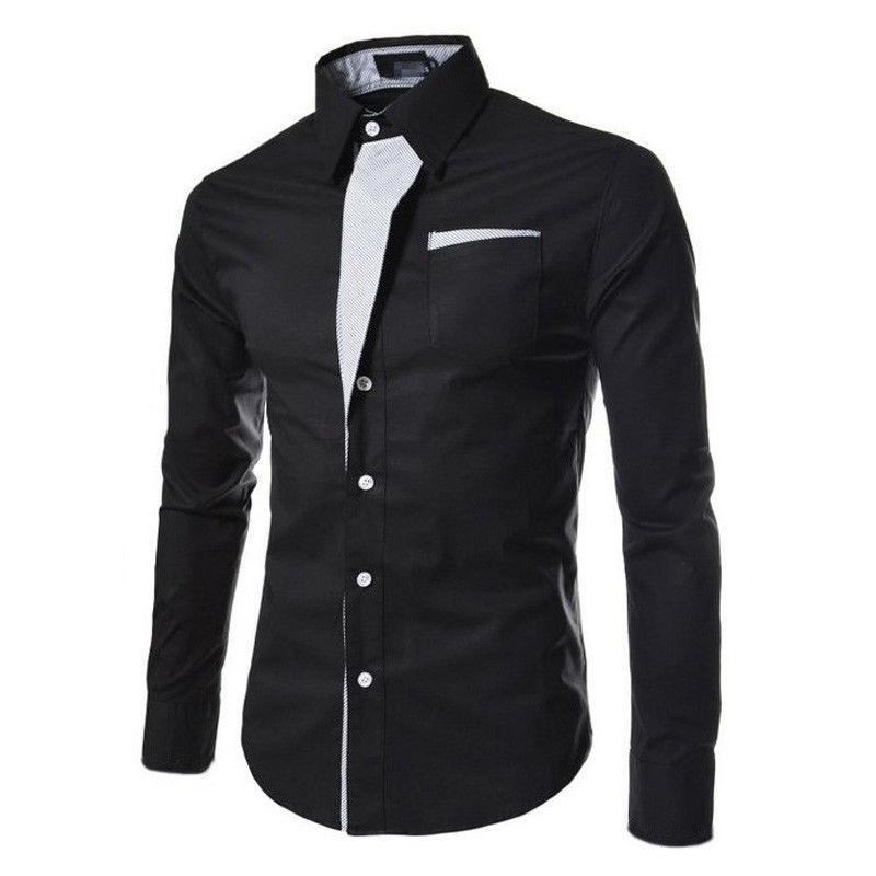 Luxury Men/'s Stylish Casual Dress Shirt Slim Fit Long Sleeve Formal T-Shirt Tops