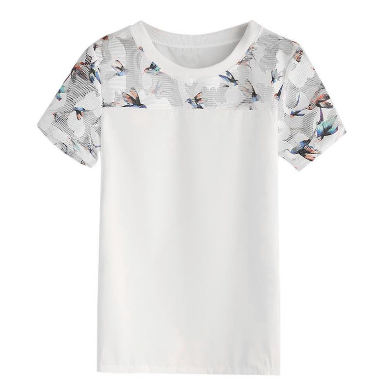 2020 Bird Printed Mesh Blouse Tops Women Summer Casual White Blouses And Tops Fashion Round Neck Short Sleeve Blouse Shirt