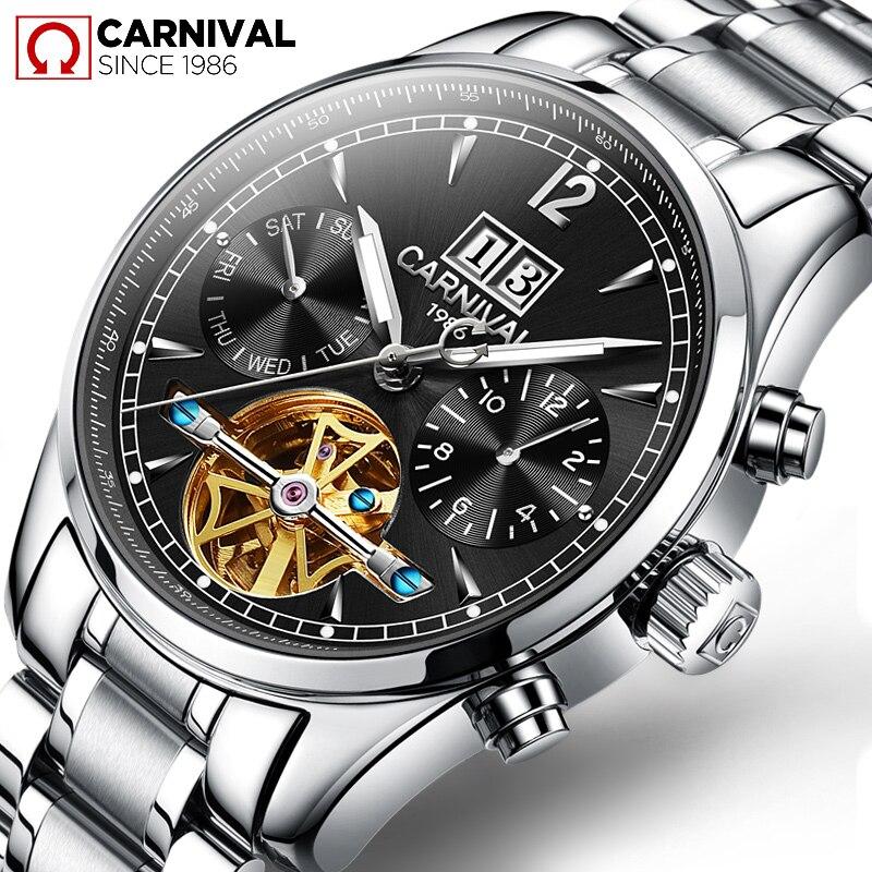 TopBrand CARNIVAL luxe heren skeleton business casual horloge - Herenhorloges - Foto 3