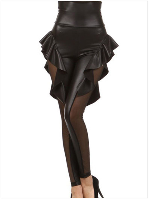 Large size Gothic leather pant Nightclub jumpsuit lady sexy  flower costume Gril Punk Catsuit Net lace and Faux Leather leggings