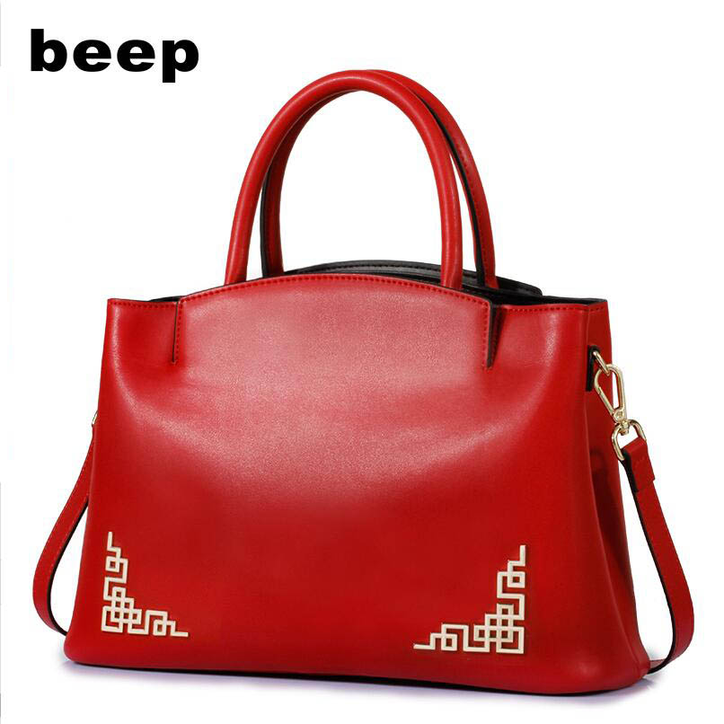 Beep Brand Superior cowhide fashion luxury handbags women bags designer Genuine Leather bag women leather shoulder women's bag beep beep go to sleep