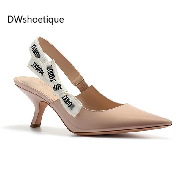 New patent leather women slingback sandals strange heel pointed toe words  strap pumps