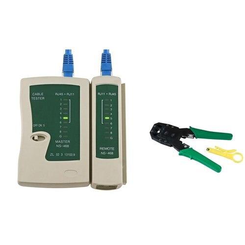 YOC Hot Network LAN Cable Tester RJ45 RJ11 RJ12 Cat5 + Crimper