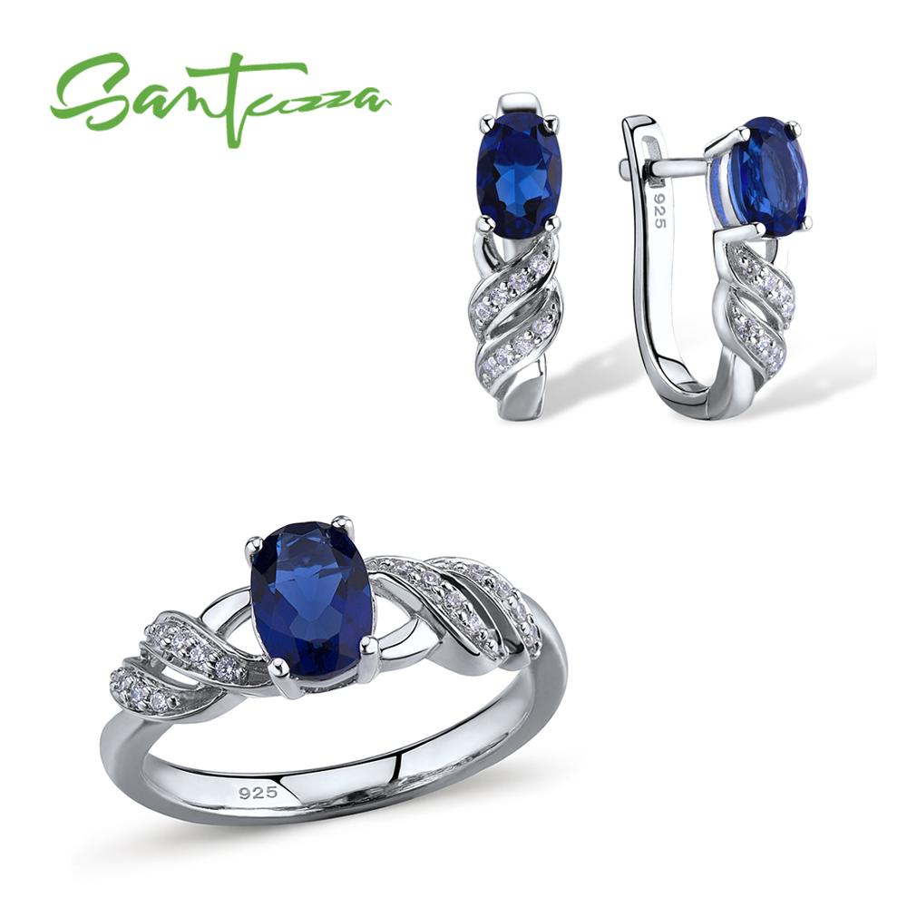 Santuzza Jewelry Sets for Women Blue Crystal Stones Jewelry Set Stud Earrings and Ring Set Pure 925 Sterling Silver Jewelry Set santuzza jewelry sets for women blue spinels white cz stones jewelry set ring stud earrings set 925 sterling silver jewelry set