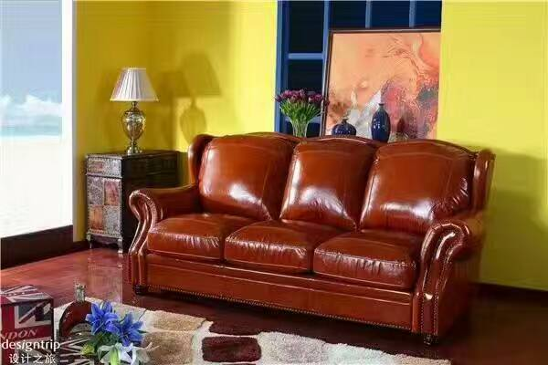 High quality cow top graded real genuine leather sofa/living room sofa furniture latest style home used three seat brown couch unique post modern style top graded cow real leather ottoman stool living room home furniture round shape crystal buttons