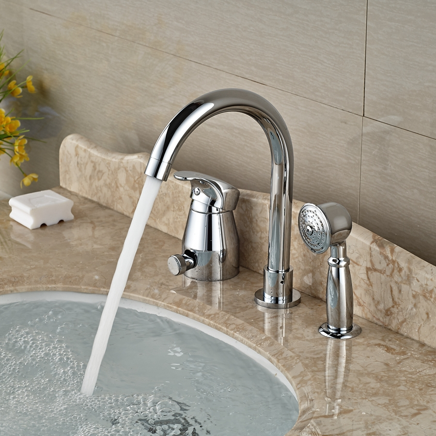 Wholesale And Retail Promotion Widespread Chrome Brass Bathroom Tub Faucet W/ Hand Shower Sprayer Mixer Tap retractable usb charging cable for samsung a288 a388 a399 a408 more 70cm