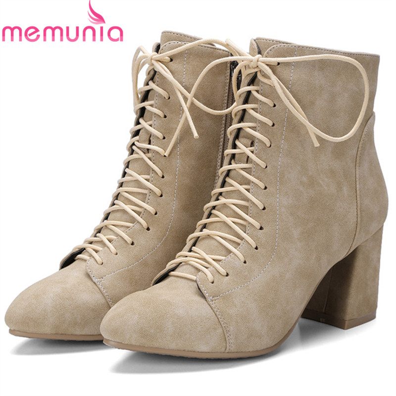 MEMUNIA Zipper solid high heels boots female in spring autumn fashion boots pointed toe shoes woman ankle boots size 34-42 memunia 2017 fashion flock spring autumn single shoes women flats shoes solid pointed toe college style big size 34 47