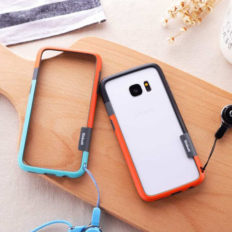 SAM S10 / S10 Plus Zenus Bumper ,Silicone + PC Walnutt Color Shock Frame Bumper For Samsung Galaxy S8 / S9 Plus with string image