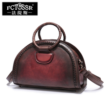 2017 Natural Leather Handbags Vintage Rivet Women Shoulder Bags Handmade Cowhide Messenger Bags Handbag