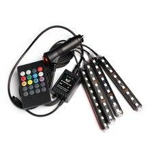 4pcs 12V USB LED Strip RGB Light Auto Car Decorative Flexible BLack light Lamp Tape PC neon