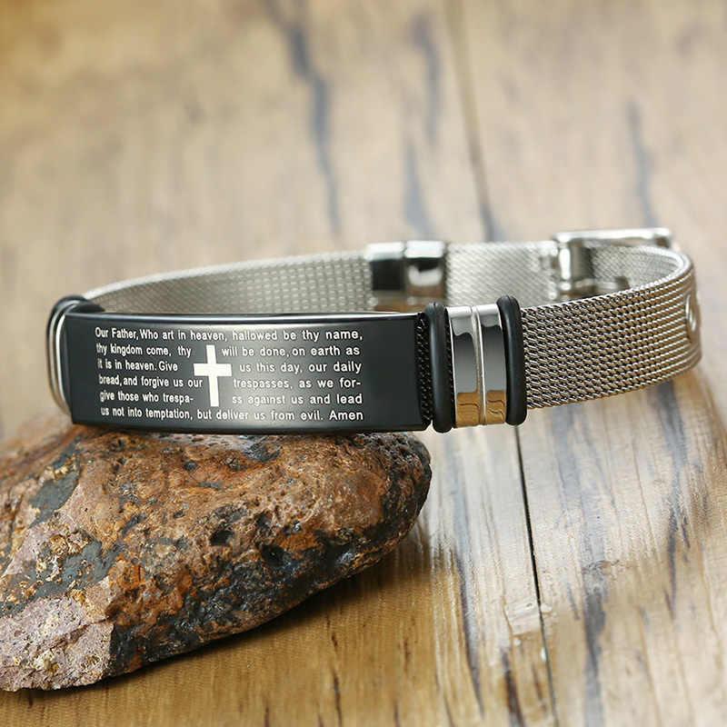 Personalizado cruz masculina pulseira de aço inoxidável oração do senhor cristão personalizado ajustável masculino dropshipping