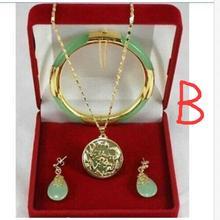 Последние несколько стилей модные ювелирные изделия зеленые модные ожерелья подвески, серьги, браслеты Набор нефритовые ювелирные изделия с кристаллами