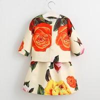 Girls Clothes Sets Costume For Kids Clothing 2017 Brand Children Clothing Sets Girls Tracksuits Flower Jacket