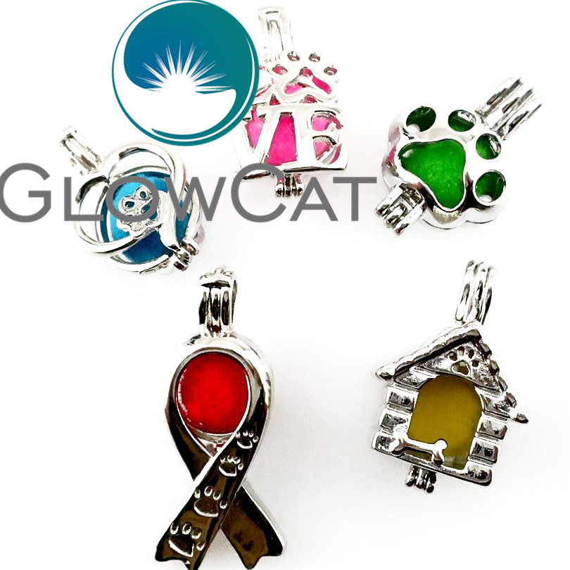 5x Love Heart Pet House Puppy Dog Paw Print Ribbon Pearl Beads Cage Essential Oil Diffuser Aromatherapy Locket Pendant 22159