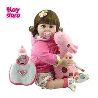 KAYDORA 22 дюймов 55 см Силиконовые Reborn Baby куклы lol Alive реалистичные детские игрушки для девочек Menina Bebe Boneca подарок на день рождения Жираф