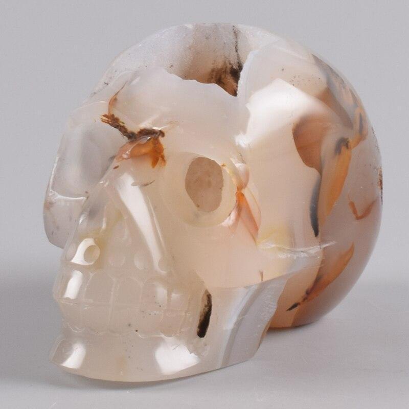 "720 g Hand Carved Skull Agate Crystal Geode 4.5 "" Skulls Natural Stone Halloween Quartz Figurine Onyx Statue Feng Shui Decor"