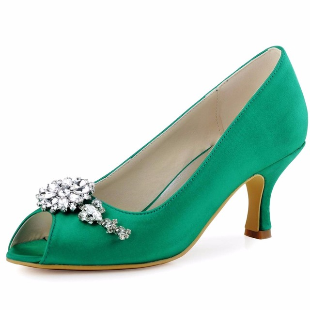 HP1541 Verde Rosa Tamaño 35 42 Mujer zapatos de tacón medio pedrería satén de damas de honor de la boda nupcial del partido de la manera bombea los zapatos de mujer