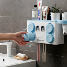 No Punching In Toothbrush Holder Cup Bathroom Mouthwash Suction Wall Hanging Toothpaste Rack