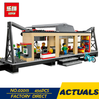 LEPIN 02015 City Trains Train Station With Rail Track Taxi 456Pcs Building Block Set Model Brick