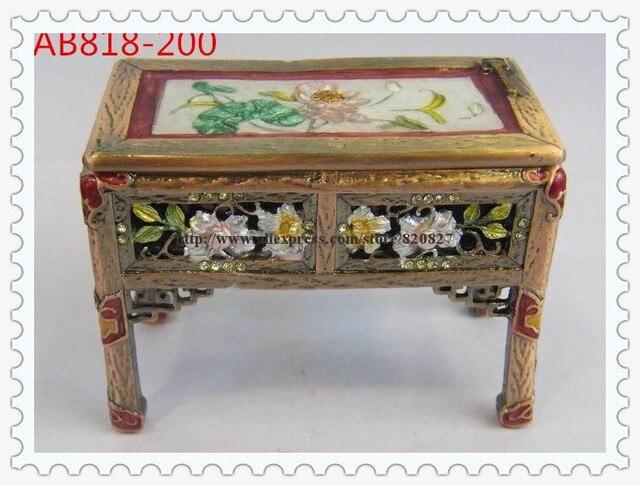 Asian Old Style Desk Shaped Trinket Jewelry Box Desk Treasure