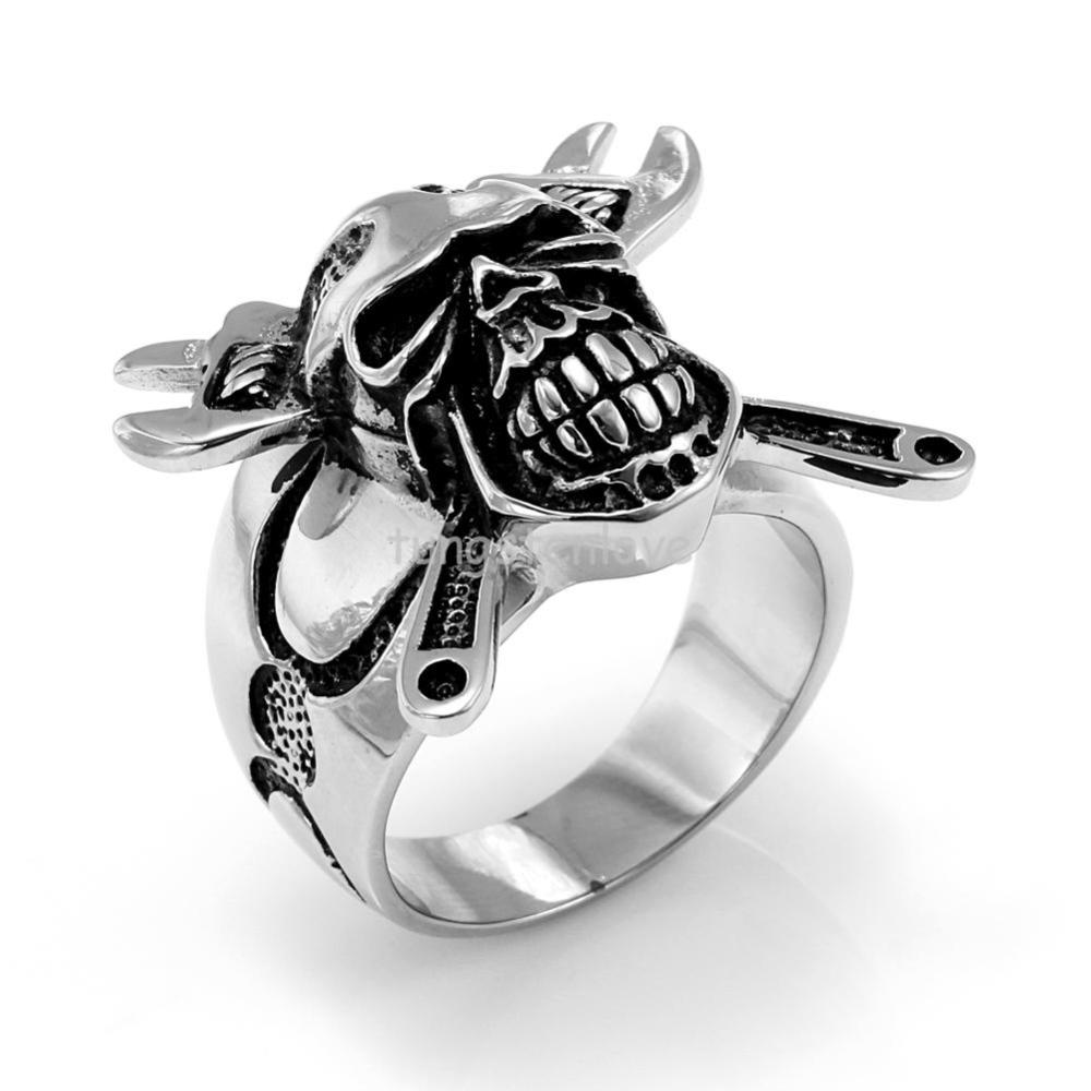 Jewelry 2017 New Stainless Steel Skull Crossbones Ring Wrench Mens Engagement Wedding Band Cool Punk Style In Rings From Accessories On