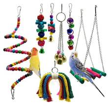 Bird Parrot Toys, 7 Packs Bird Swing Chewing Hanging Perches With Bells For Pet Parrot Lovebird Howl Budgie Cockatiels Macaws(China)