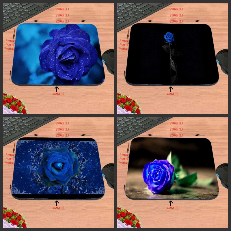 Blue roses Hot Sell Design Anti-slip Durable New Arrival Customized Rectangular Mouse Pad Computer PC Nice Gaming As Gift