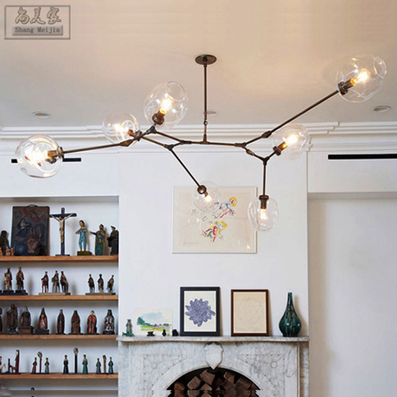 modern minimalist creative dining room pendant light  personality glass ball Beanstalk art molecular Pendant Lights FG831 LU1020 modern shade glass artistic pendant golden and black e14 bulb modern lighting sphere beanstalk molecular mall shop decoration