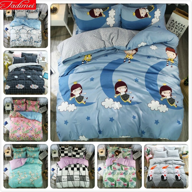 3/4 pcs enfants enfant doux confortable coton literie ensemble housse de couette linge de lit couette taie d'oreiller simple complet Twin Super King Size