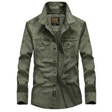 Marke Kleidung Männer Shirts Baumwolle Langarm Camiseta Masculina Jeanshemd Männer Armee Militär Lässig Größe S-4XL 5XL A3056