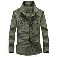 Plus Size S XXXXL 5XL Brand 100 Cotton Long Sleeve Denim Shirts Men Army Green Militray