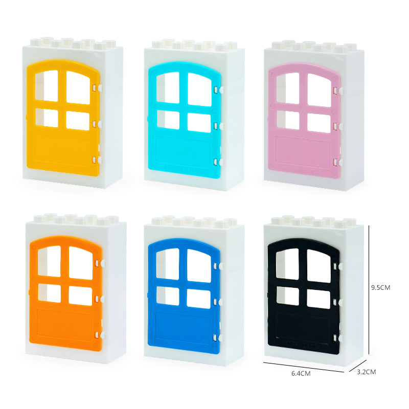 DIY House Big Particles Building Blocks Compatible LegoINGS Duploe Basics Accessory Movable Window Door Set Bricks Kids Toys (14)