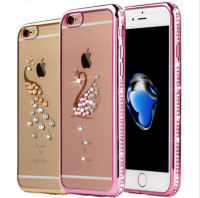 Luxury Gold Plating Crystal Clear Case For Apple Iphone 7 7plus 6 6S Plus 5 5S