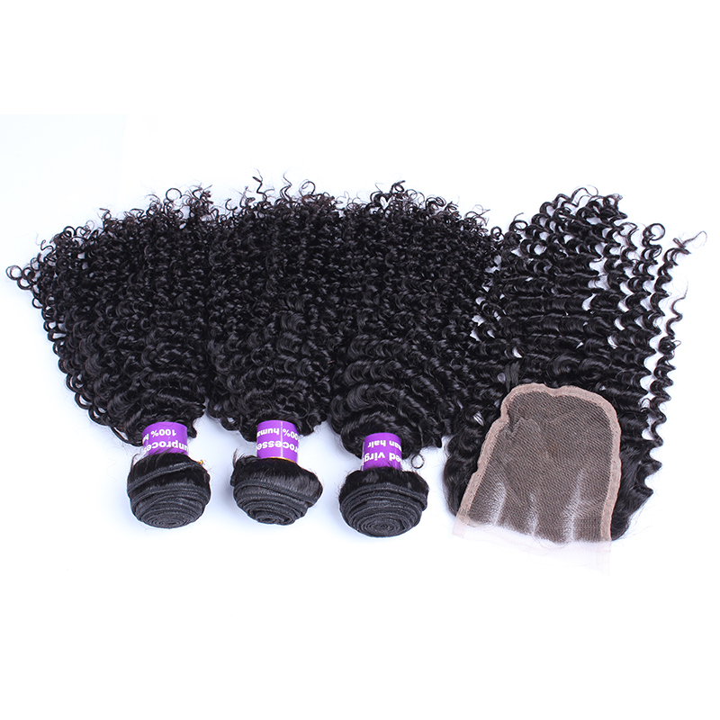 3 Kinky Curly Human Hair Bundles With Closure 4X4 Brazilian Hair Weave Bundles With Closure Natural Hair Honey Queen Remy
