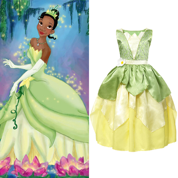 YOFEEL Princess Tiana Costume for Girl Fancy Dresses Cosplay The Princess and The Frog Dress Kids Party Halloween Birthday Gown fancy girl princess dress cosplay beauty and the best costume kids halloween birthday party dress belle aurora cinderella dress
