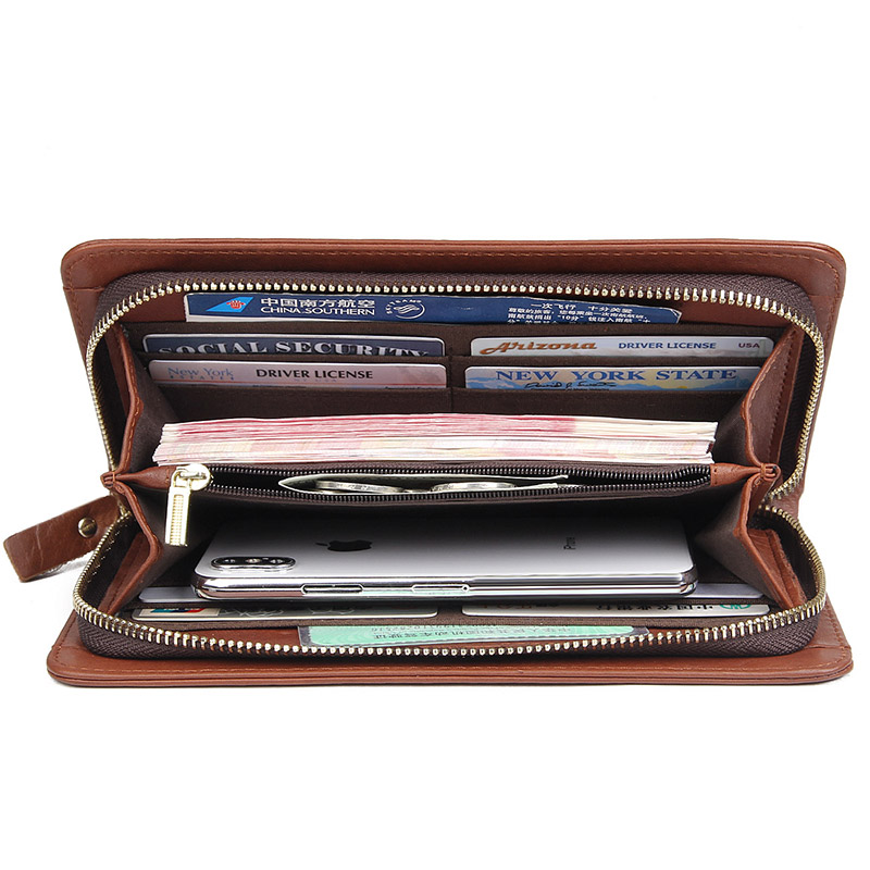 Genuine Leather Long Purse Fashion Design Wallet Men 39 s New Style Business Card Holder Money Holder Clutch Bag 8068A C in Wallets from Luggage amp Bags