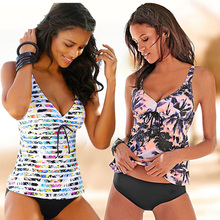 цена 2019 New Push Up Swimwear Women Plus Size Swimsuit Two Pieces Tankini Vintage Stripe Bathing Suit Print Biquini Retro Swimwear онлайн в 2017 году