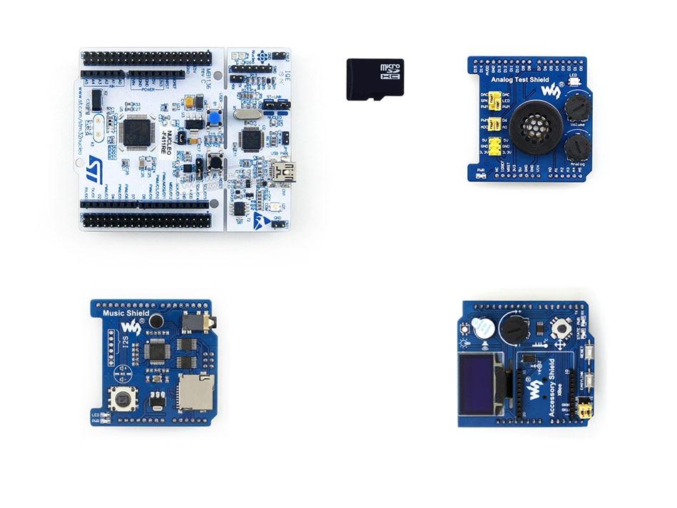 все цены на NUCLEO-F411RE Package B =ST Original NUCLEO-F411RE,STM32F411RE MCU+ Accessory Shield +Analog Test Shield +Music Shield+ SD  card онлайн