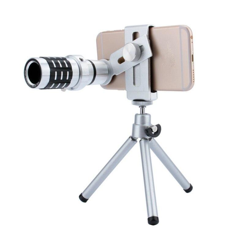 imágenes para Kits de Lentes de la Cámara Lente del Telescopio óptico 12X de Zoom de la Lente de La Cámara + Trípode del Montaje Para el iphone Para Samsung teléfono Android Universal