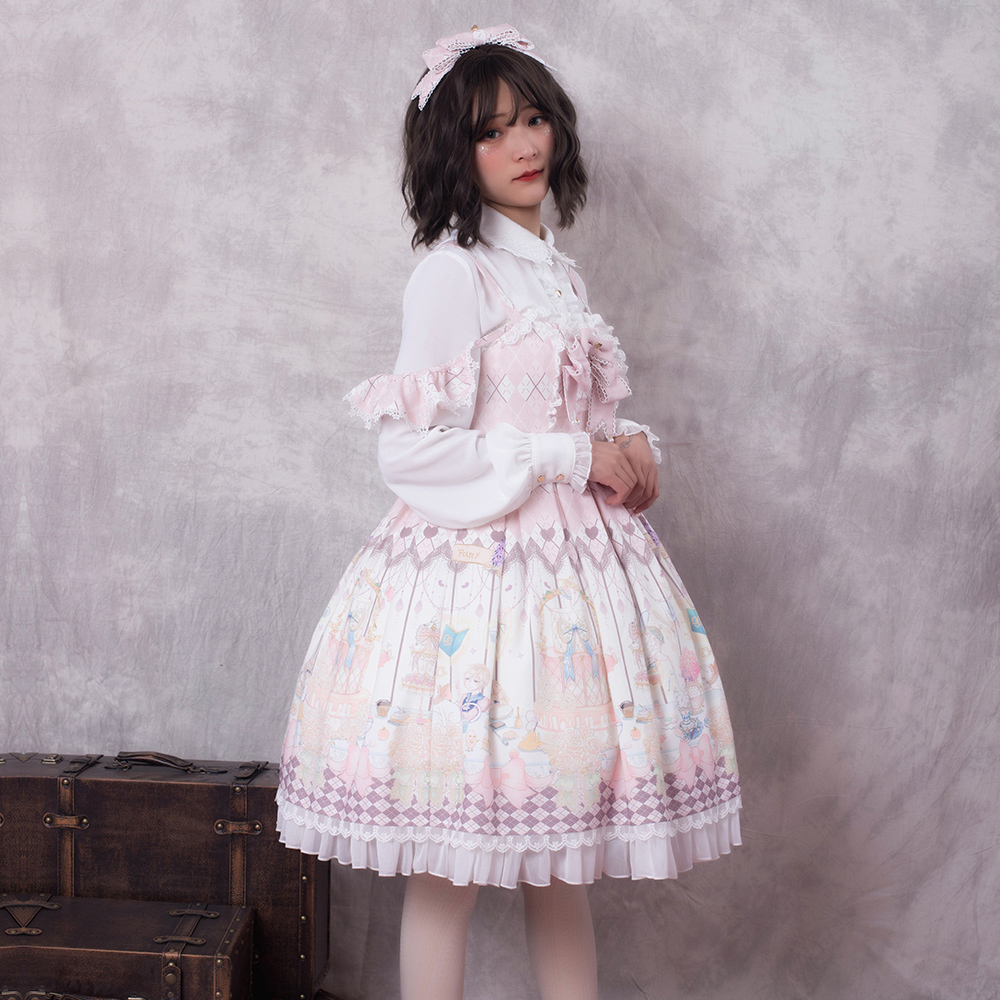 Super mignon OP Lolita robe demi manches col claudine fantaisie Dolly Lolita jupe gothique douce victorienne robe Halloween