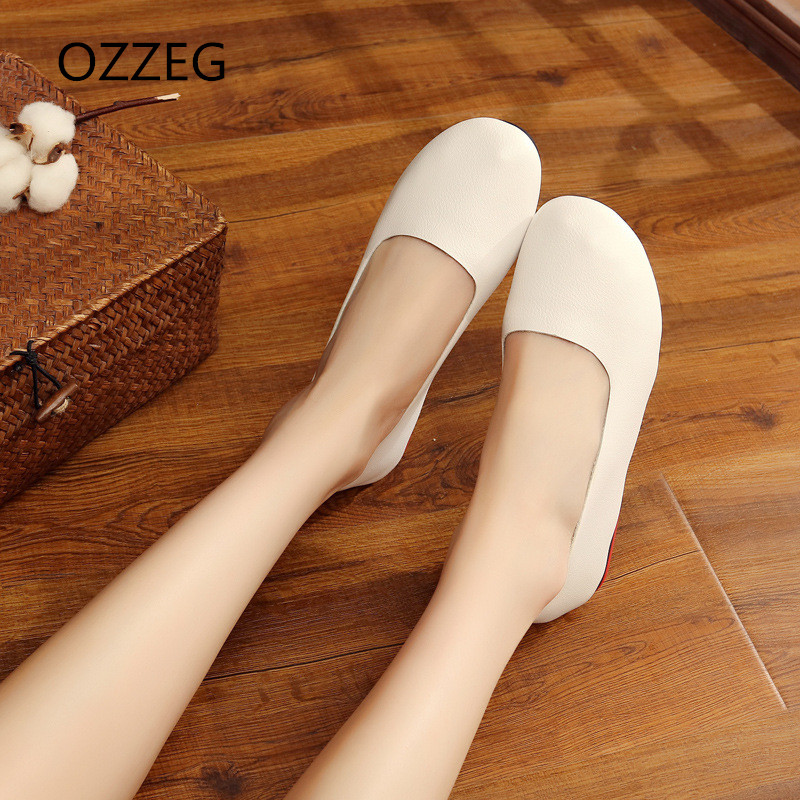 Flat sheos woman plus size 43 loafers soft flats slip on shoes round toe vintage Women Ballet flats Spring summer casual shoes