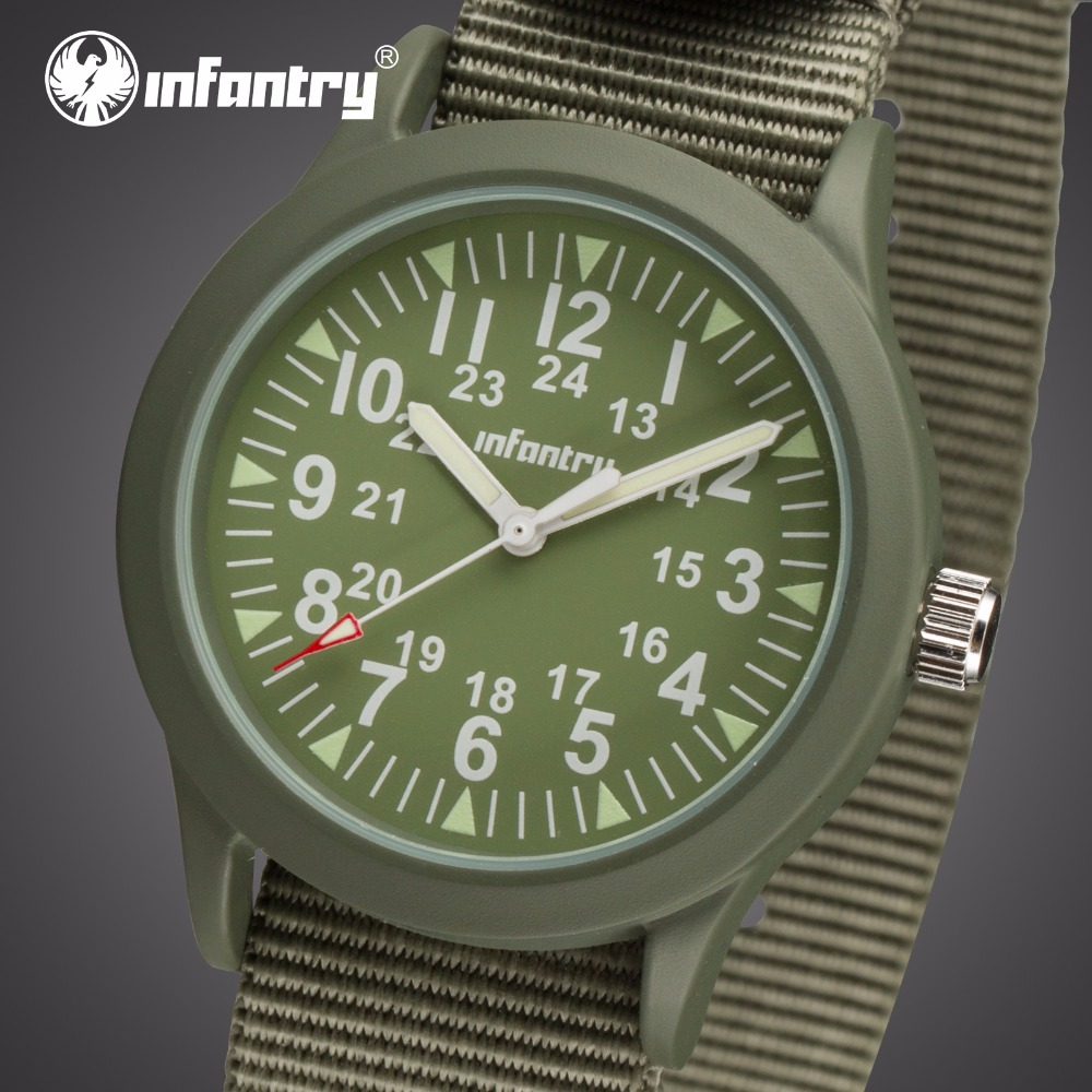 INFANTRY Men Quartz Watches Heavy Duty Nylon Strap Wristwatches - Men's Watches