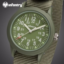 INFANTRY Men Quartz Watches Heavy Duty Nylon Strap Wristwatches Stainless Steel Back Case Water Resistant Male Table Relojes