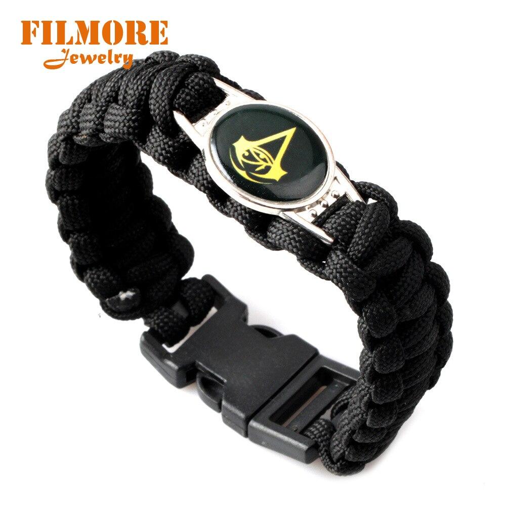 Filmore Jewelry Black Assassins Game Bracelet for Men Nylon Rope Woven Bracelet Wrist Band Survival Military Bracelet Bangle
