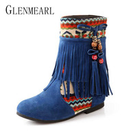 2018 Winter Ethnic Plus Size Women S Boots Shoes Tassel Fringe Bohemia Height Increasing Ankle Boots