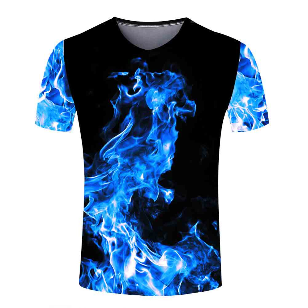 New Summer Men Interesting Blue Flame T Shirts V Neck